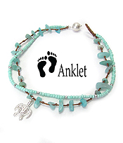 SEALIFE THEME MULTI SEA GLASS AND BEAD MIX DOUBLE LAYER ANKLET - TURTLE