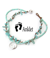 SEALIFE THEME MULTI SEA GLASS AND BEAD MIX DOUBLE LAYER ANKLET - WAVE