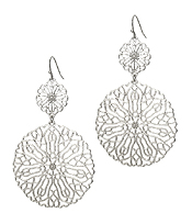 DOUBLE METAL FILIGREE DROP EARRING