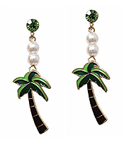 FRESHWATER PEARL AND PALM TREE DROP EARRING