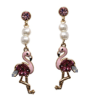 FRESHWATER PEARL AND FLAMINGO DROP EARRING
