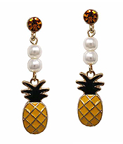 FRESHWATER PEARL AND PINEAPPLE DROP EARRING
