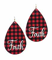 BUFFALO CHECK TEARDROP EARRING - FAITH