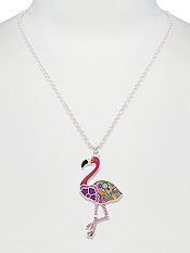DESIGNER PATTERN PENDANT NECKLACE - FLAMINGO
