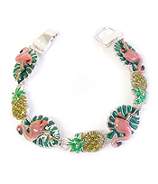 TROPICAL THEME EPOXY MAGNETIC BRACELET - FLAMINGO AND PINEAPPLE