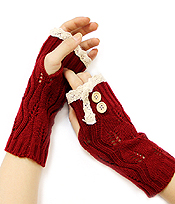 VINTAGE LACE AND DOUBLE BUTTON ACCENT OPEN FINGER KNIT GLOVE OR ARM WARMERS