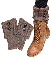 DOUBLE BUTTON VINTAGE CROCHET BOOT TOPPER SHORT LEG WARMERS - BOOT CUFFS