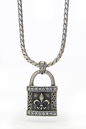 MENS STAINLESS STEEL METAL CHAIN NECKLACE - CRYSTAL LOCK PENDANT