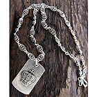 MENS STAINLESS STEEL METAL CHAIN NECKLACE - CROWN DOGTAG PENDANT