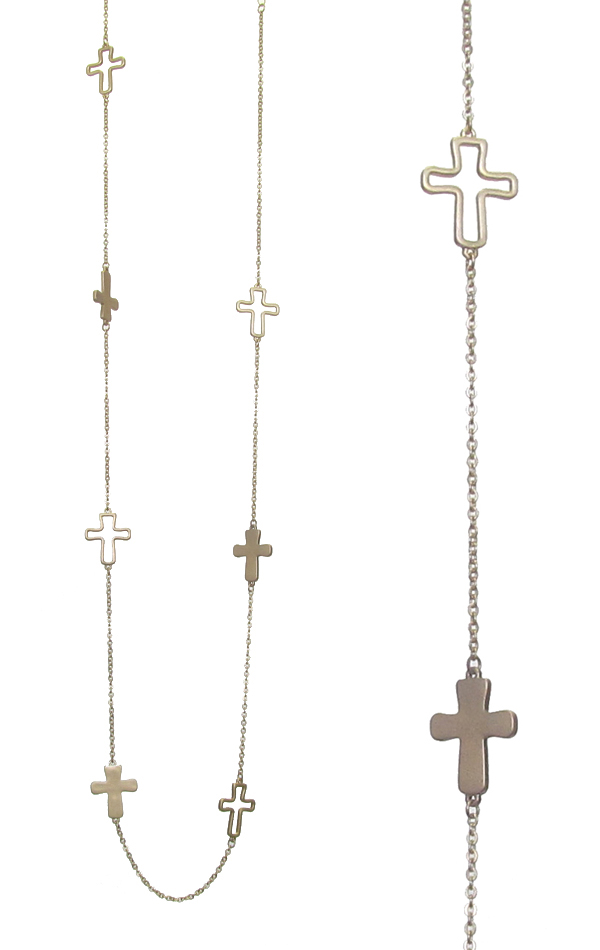 CROSS LINK LONG CHAIN NECKLACE
