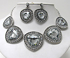MULTI TRIANGULAR FACET GLASS AND CRYSTAL DECO LINK NECKLACE EARRING SET