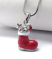 WHITEGOLD PLATING CRYSTAL CHRISTMAS RED BOOT PENDANT NECKLACE - Wholesale Jewelry