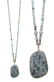 SEMI PRECIOUS STONE PENDANT AND MULTI SEED BEAD LONG CHAIN NECKLACE