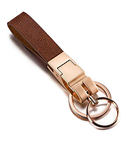 WAIST HANGING LEATHER AND CHROME KEYCHAIN