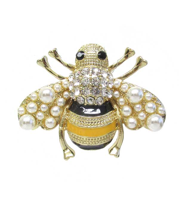CRYSTAL AND PEARL BEE PIN OR BROOCH