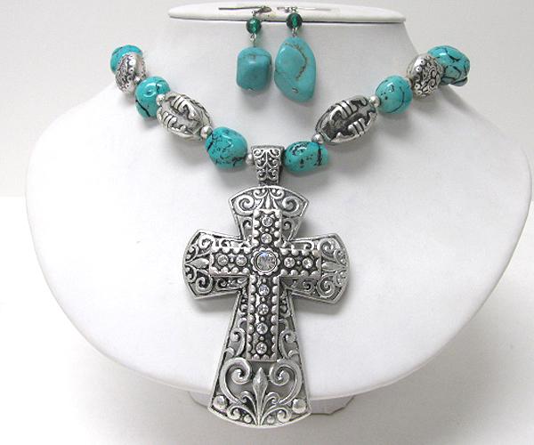 Wholesale large cross pendant chunky turquoise stone link necklace wholesale large cross pendant chunky turquoise stone link necklace earring set 374908 aloadofball Choice Image