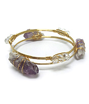 SEMI PRECIOUS AND GLASS STONE MIX HANDMADE BOURBON WIRE BRACELET SET OF 2
