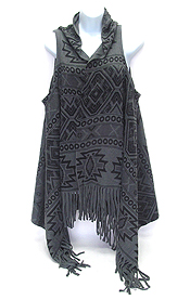AZTEC PATTERN SLEEVELESS AND TASSEL DROP PONCHO - 350 G