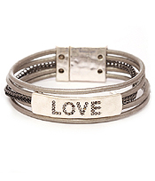 LOVE THEME LEATHER BAND MAGNETIC BRACELET