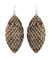 SNAKE SKIN PRINT LEATHER EARRING