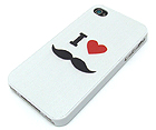 I LOVE MUSTACHE THEME CELLPHONE CASE - HARD CASE FOR IPHONE 4