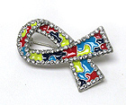 CRYSTAL EPOXY AUTISM AWARENESS RIBBON BROOCH OR PIN