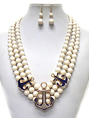 3 LAYER PERAL ANCHOR NECKLACE SET