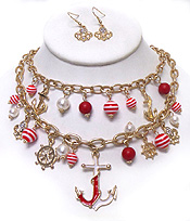DOUBLE LAYER METAL ANCHOR  CHARM CHAIN NECKLACE SET