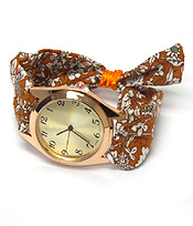 FLORAL PRINT SCARF PULL AND TIE FASHION WATCH