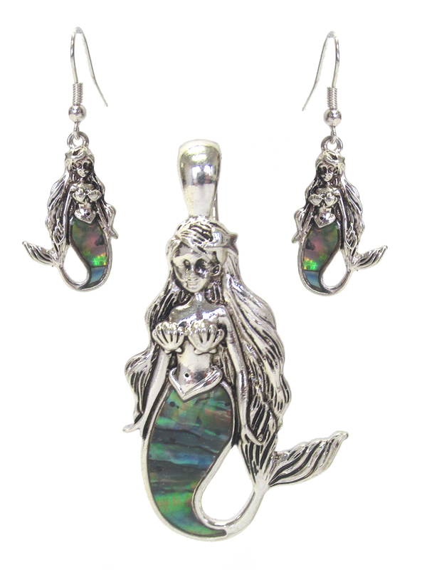 ABALONE MERMAID PENDANT AND EARRING SET