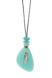 SEALIFE THEME SEA GLASS PENDANT NECKLACE SET - MERMAID