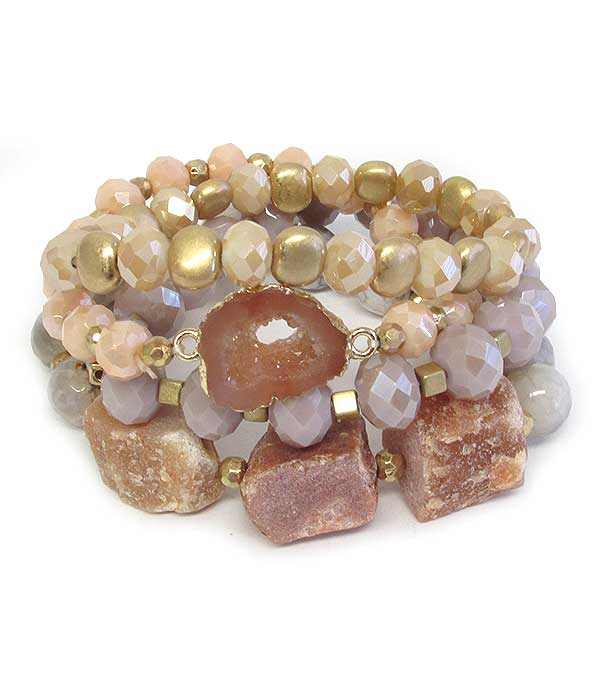 DRUZY AND MULTI FACET GLASS BEAD MIX 4 STRETCH BRACELET SET