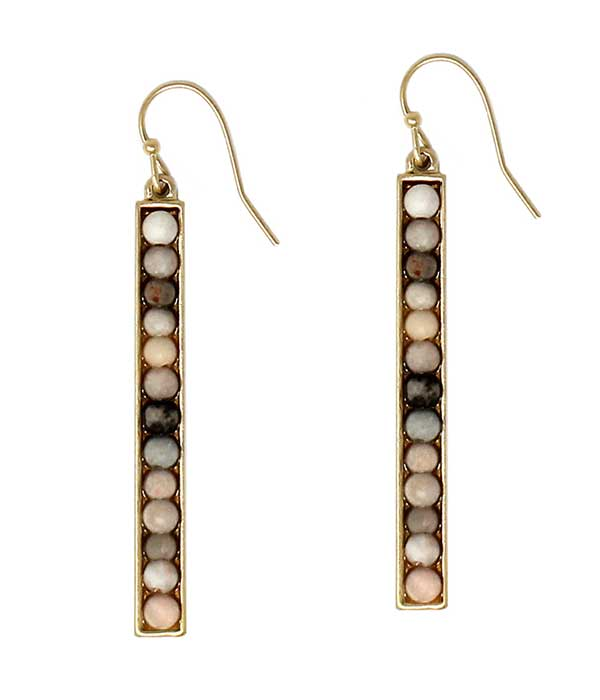 SEMI PRECIOUS STONE METAL BAR DROP EARRING - PINK ZEBRA