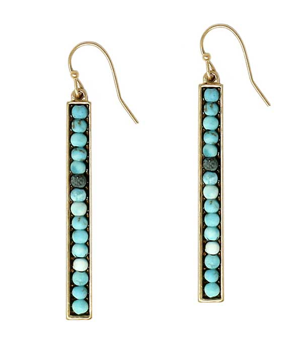 SEMI PRECIOUS STONE METAL BAR DROP EARRING - TURQUOISE
