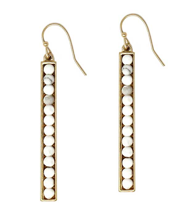 SEMI PRECIOUS STONE METAL BAR DROP EARRING - HOWLITE