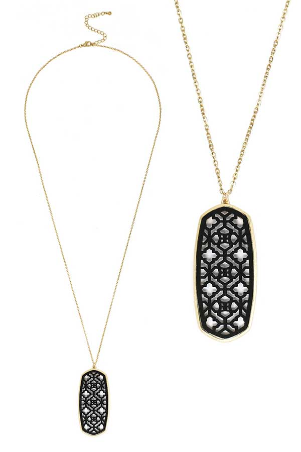METAL FILIGREE COLOR COAT PENDANT LONG NECKLACE