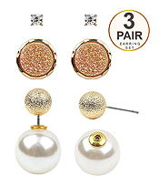 CRYSTAL AND DRUZY AND PEARL 3 PAIR EARRING SET