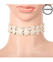 MULTI COLORED FABRIC CHOKER NECKLACE