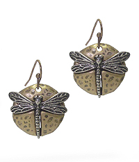 DRAGONFLY ON HAMMERED DISK EARRING
