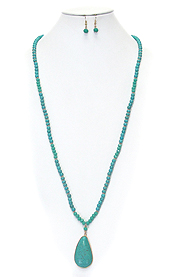 TEARDROP TURQUOISE PENDANT LONG NECKLACE SET