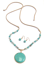 TURQUOISE PENDANT MULTI GLASS BEAD AND SUEDE ADJUSTABLE LONG NECKLACE SET