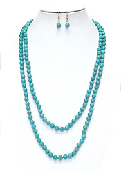 MULTI STONE BEAD LONG NECKLACE SET