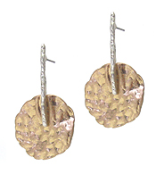 TEXTURED METAL DISK EARRING