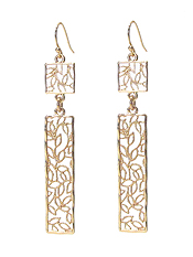 METAL FILIGREE LEAF BAR DROP EARRING