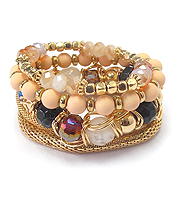 MULTI GLASS BEAD AND STRETCH METAL CHAIN MIX BRACELET SET