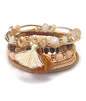 MULTI WOOD BEAD AND STRETCH METAL CHAIN MIX TASSEL BRACELET SET