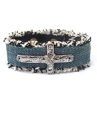 CROSS ON DENIM BRACELET