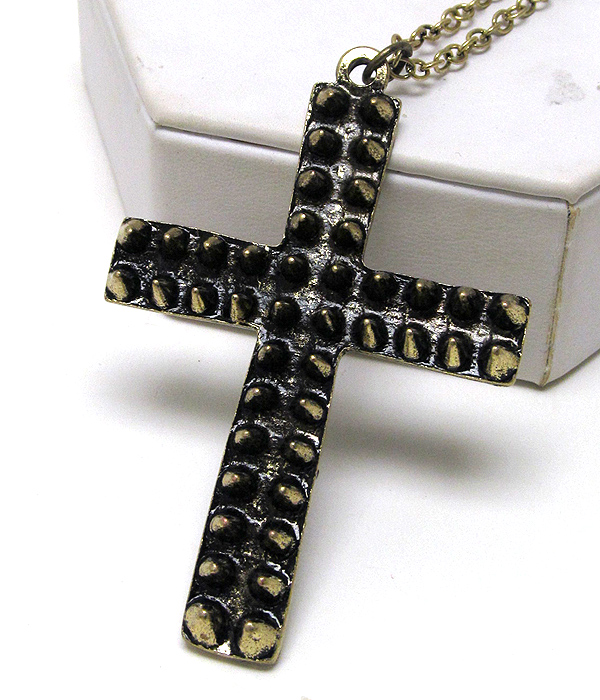 METAL SCRACH CROSS WITH MULTI SPIKE LONG CHAIN NECKLACE EARRING SET