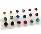 CRYSTAL STUD EARRING SET OF 9