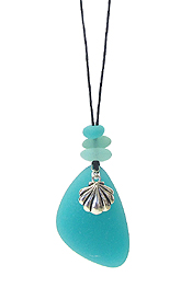 SEALIFE THEME SEA GLASS PENDANT NECKLACE SET - SHELL